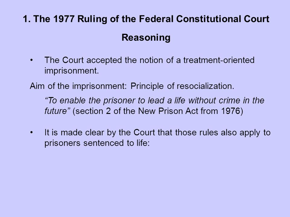 1. The 1977 Ruling of the Federal Constitutional Court.