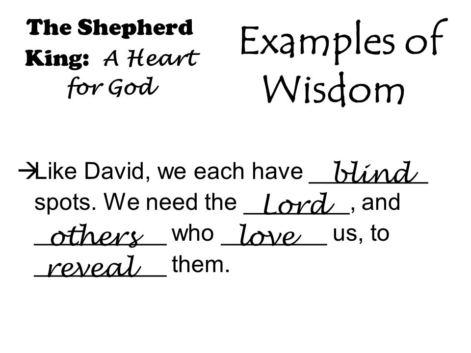 The Shepherd King: A Heart for God  Like David, we each have _________ spots.