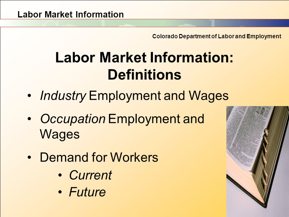 Labor Market Information Colorado Department of Labor and Employment Labor Market Information: Definitions Industry Employment and Wages Occupation Em