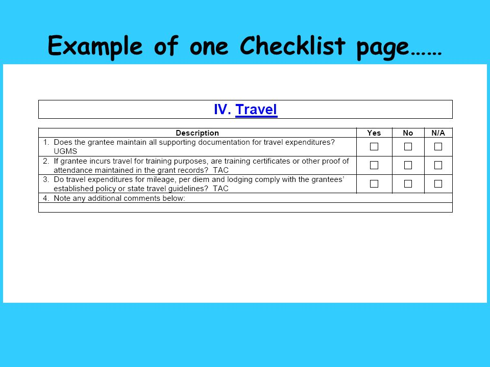 Example of one Checklist page……