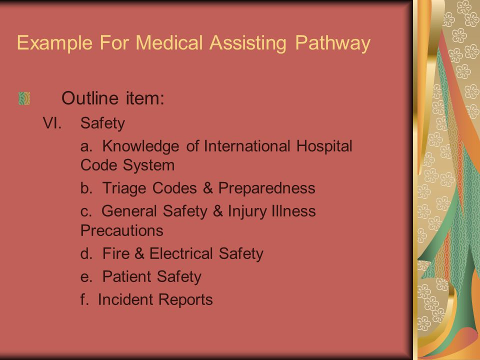 Example For Medical Assisting Pathway Outline item: VI.Safety a.