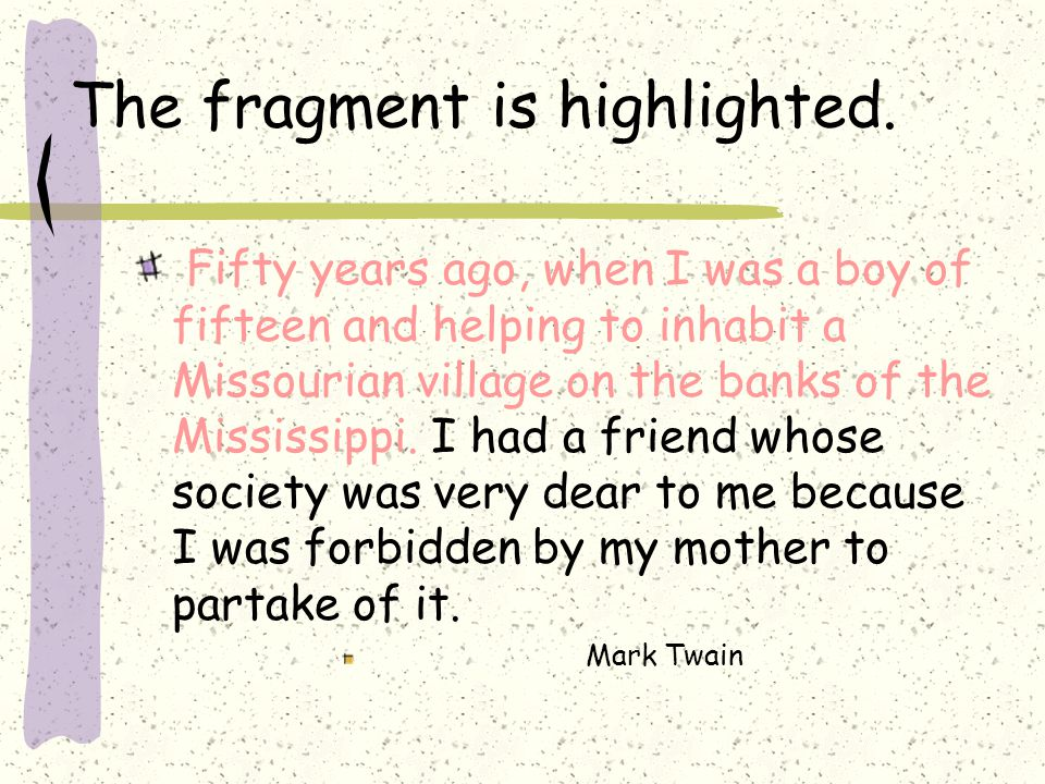 The fragment is highlighted.