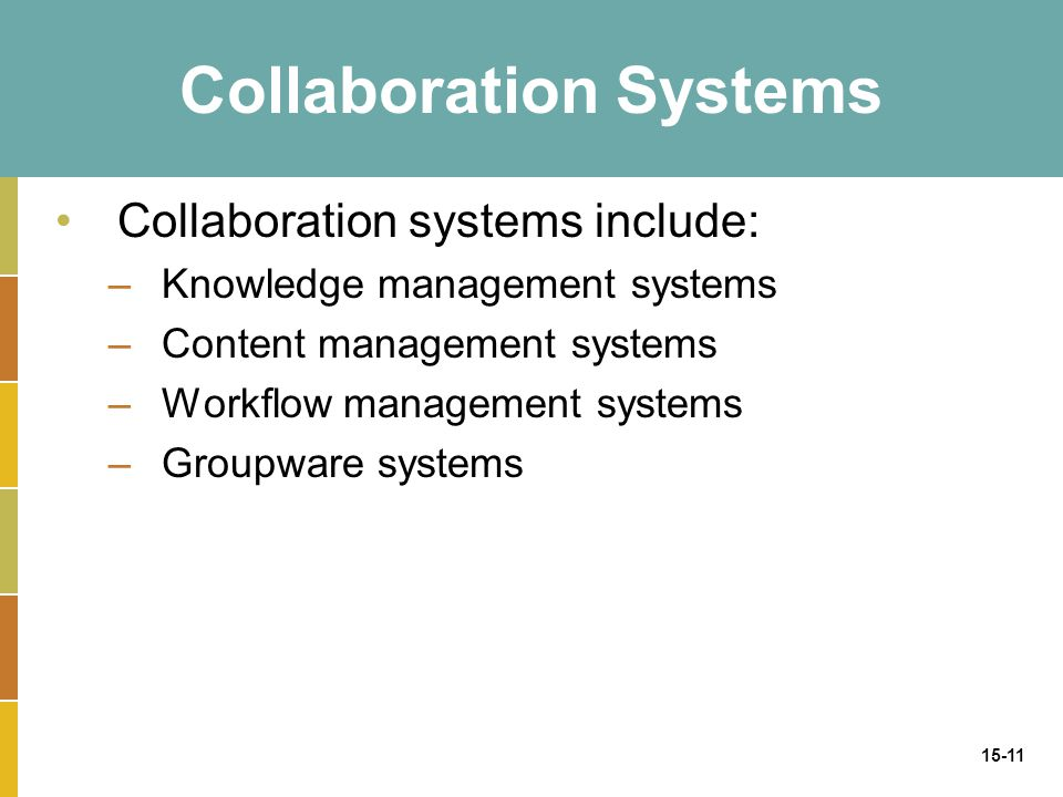 15-11 Collaboration Systems Collaboration systems include: –Knowledge management systems –Content management systems –Workflow management systems –Groupware systems