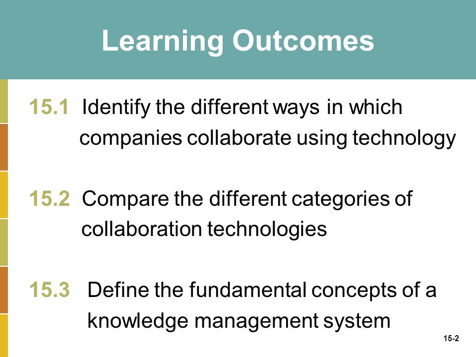 15-2 Learning Outcomes 15.1 Identify the different ways in which companies collaborate using technology 15.2 Compare the different categories of collaboration technologies 15.3 Define the fundamental concepts of a knowledge management system