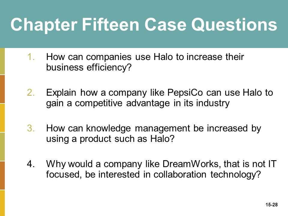 15-28 Chapter Fifteen Case Questions 1.How can companies use Halo to increase their business efficiency.