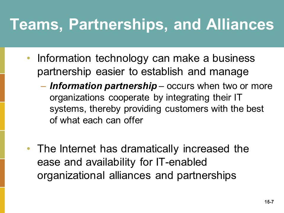 15-7 Teams, Partnerships, and Alliances Information technology can make a business partnership easier to establish and manage –Information partnership – occurs when two or more organizations cooperate by integrating their IT systems, thereby providing customers with the best of what each can offer The Internet has dramatically increased the ease and availability for IT-enabled organizational alliances and partnerships