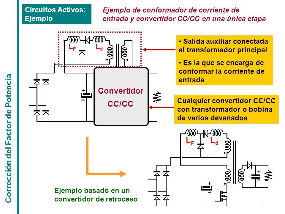 Corrección del Factor de Potencia Circuitos Activos: Ejemplo Ejemplo de conformador de corriente de entrada y convertidor CC/CC en una única etapa Salida auxiliar conectada al transformador principal Es la que se encarga de conformar la corriente de entrada Convertidor CC/CC LFLF LdLd Cualquier convertidor CC/CC con transformador o bobina de varios devanados LdLd LFLF Ejemplo basado en un convertidor de retroceso