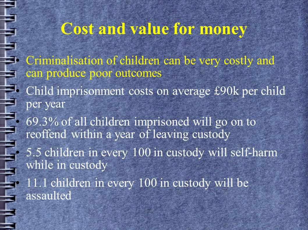 Cost and value for money Criminalisation of children can be very costly and can produce poor outcomes Child imprisonment costs on average £90k per child per year 69.3% of all children imprisoned will go on to reoffend within a year of leaving custody 5.5 children in every 100 in custody will self-harm while in custody 11.1 children in every 100 in custody will be assaulted
