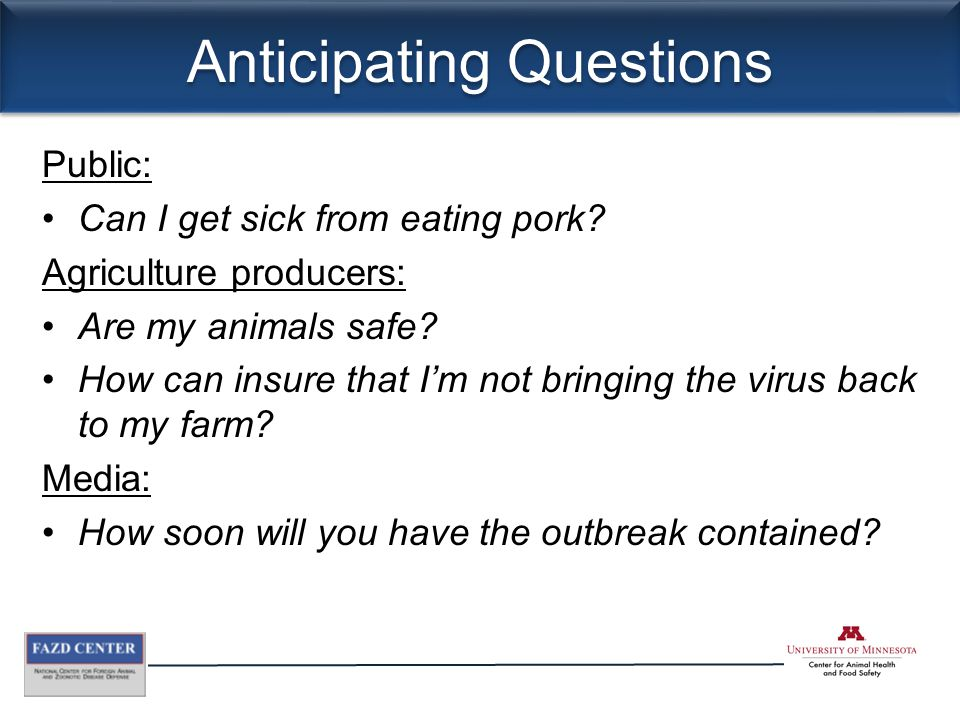 Anticipating Questions Public: Can I get sick from eating pork.