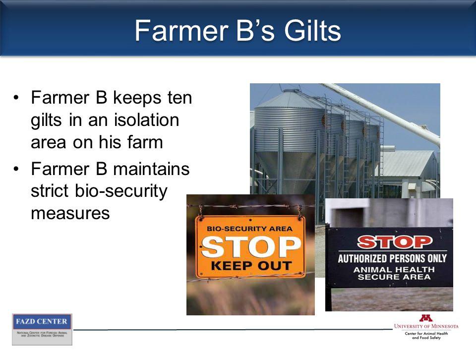Farmer B's Gilts Farmer B keeps ten gilts in an isolation area on his farm Farmer B maintains strict bio-security measures