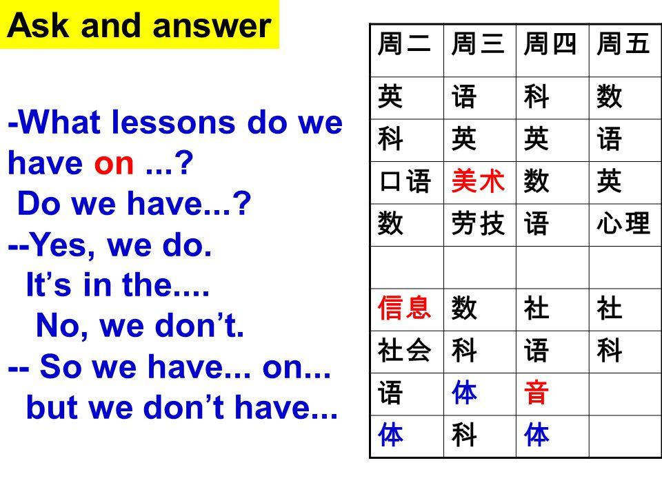 周二周三周四周五 英语科数 科英英语 口语美术数英 数劳技语心理 信息数社社 社会科语科 语体音 体科体 -What lessons do we have on...? Do we have...? --Yes, we do. It's in the.... No, we don't. -- So