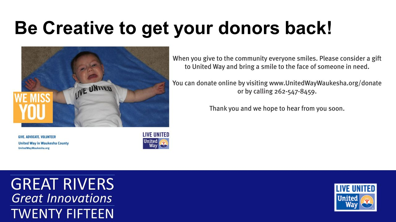 GREAT RIVERS Great Innovations TWENTY FIFTEEN GREAT RIVERS Great Innovations TWENTY FIFTEEN Be Creative to get your donors back!