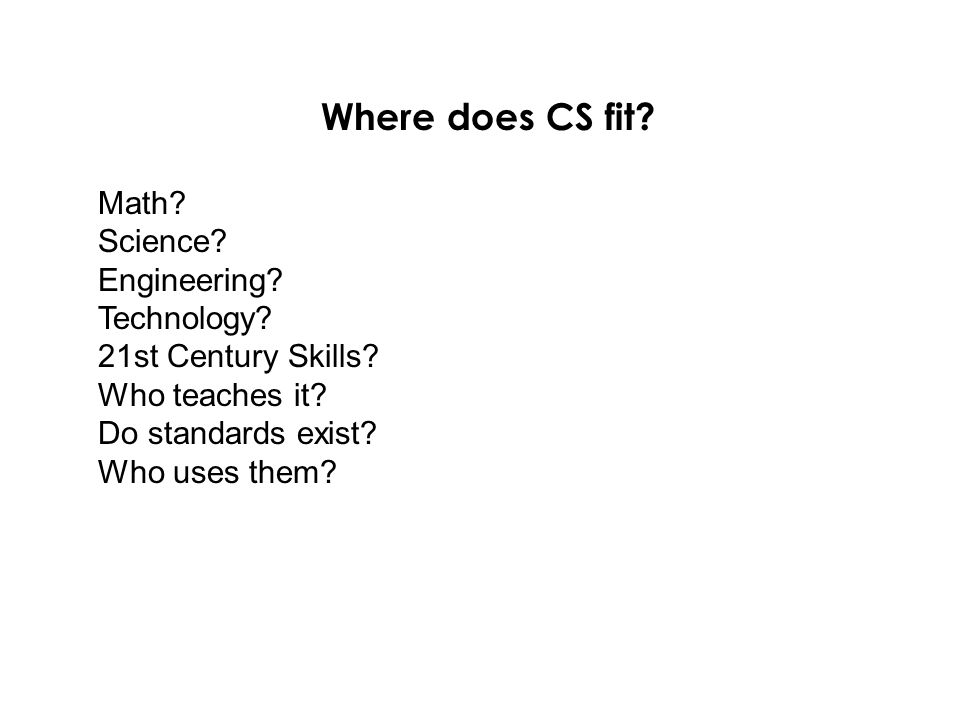 Where does CS fit. Math. Science. Engineering. Technology.