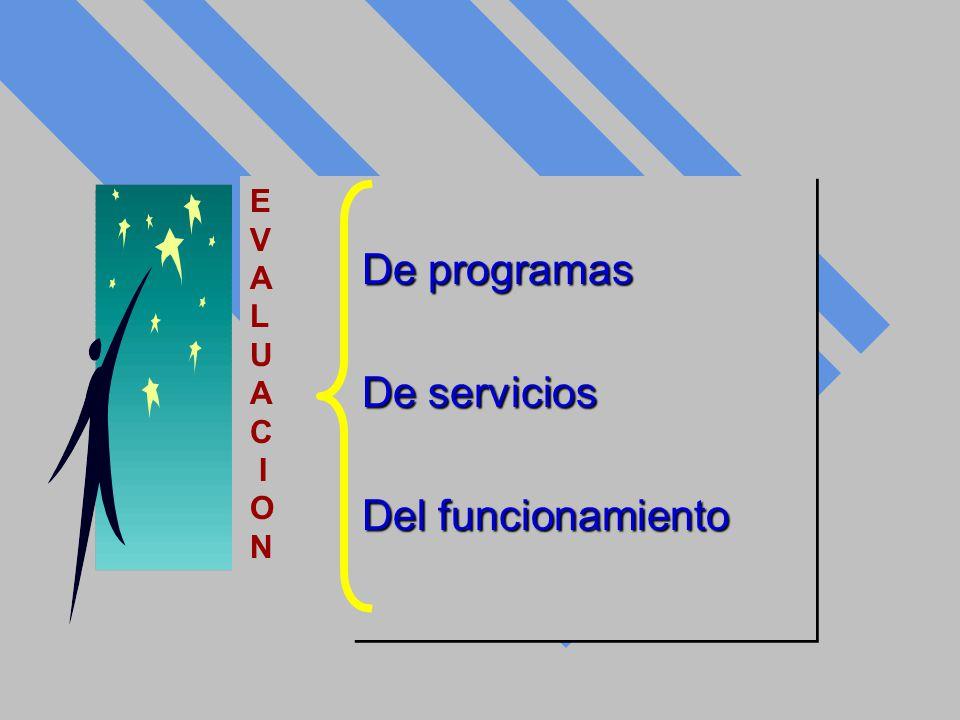 De programas De servicios Del funcionamiento De programas De servicios Del funcionamiento E V A L U A C I O N