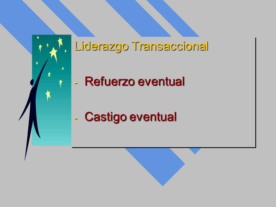 Liderazgo Transaccional - Refuerzo eventual - Castigo eventual Liderazgo Transaccional - Refuerzo eventual - Castigo eventual