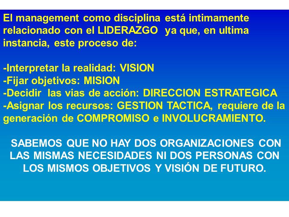 El management como disciplina está intimamente relacionado con el LIDERAZGO ya que, en ultima instancia, este proceso de: -Interpretar la realidad: VISION -Fijar objetivos: MISION -Decidir las vias de acción: DIRECCION ESTRATEGICA -Asignar los recursos: GESTION TACTICA, requiere de la generación de COMPROMISO e INVOLUCRAMIENTO.