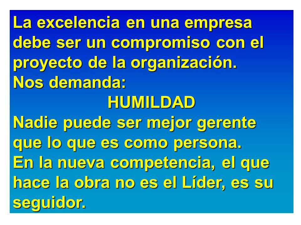 La excelencia en una empresa debe ser un compromiso con el proyecto de la organización.