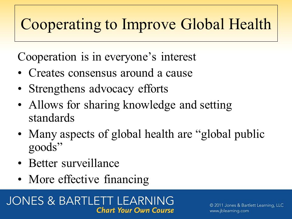 Cooperating to Improve Global Health Cooperation is in everyone's interest Creates consensus around a cause Strengthens advocacy efforts Allows for sh