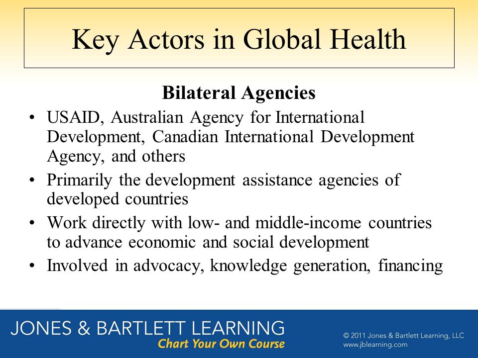 Key Actors in Global Health Bilateral Agencies USAID, Australian Agency for International Development, Canadian International Development Agency, and