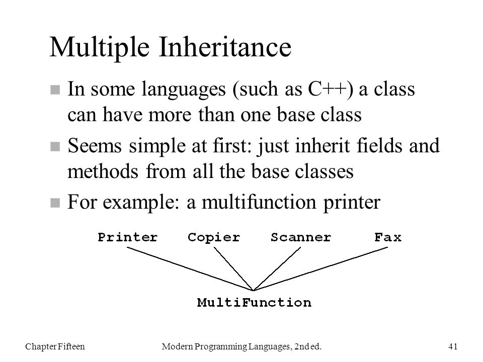 Multiple Inheritance n In some languages (such as C++) a class can have more than one base class n Seems simple at first: just inherit fields and methods from all the base classes n For example: a multifunction printer Chapter FifteenModern Programming Languages, 2nd ed.41