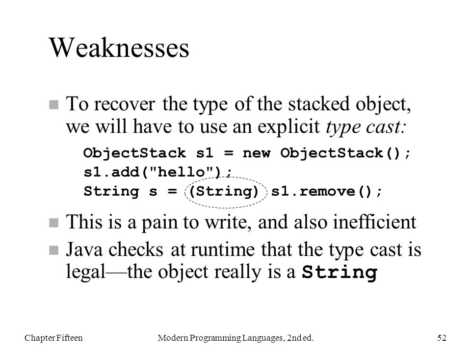 Weaknesses n To recover the type of the stacked object, we will have to use an explicit type cast: n This is a pain to write, and also inefficient Java checks at runtime that the type cast is legal—the object really is a String Chapter FifteenModern Programming Languages, 2nd ed.52 ObjectStack s1 = new ObjectStack(); s1.add( hello ); String s = (String) s1.remove();