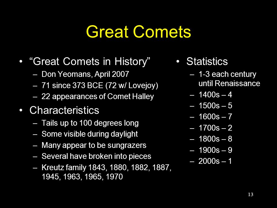 "Great Comets ""Great Comets in History"" –Don Yeomans, April 2007 –71 since 373 BCE (72 w/ Lovejoy) –22 appearances of Comet Halley Characteristics –Tai"