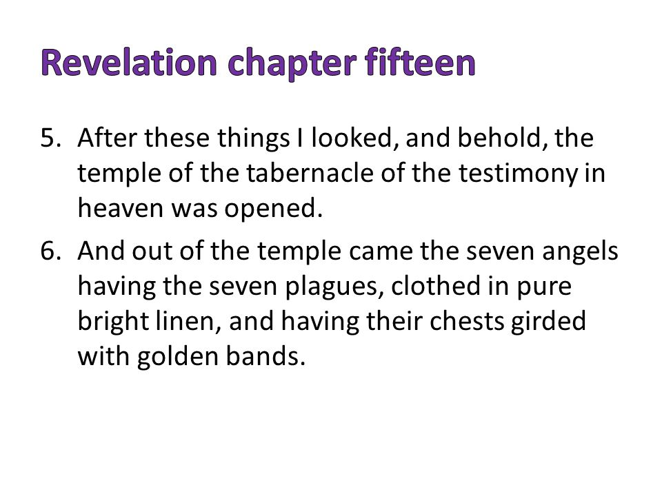 5.After these things I looked, and behold, the temple of the tabernacle of the testimony in heaven was opened.