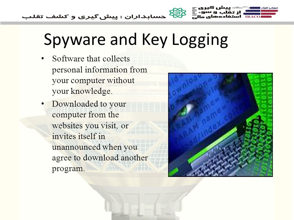 Spyware and Key Logging Software that collects personal information from your computer without your knowledge.