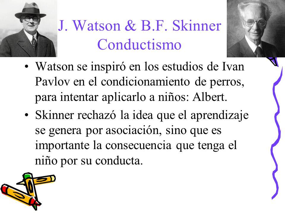 J. Watson & B.F. Skinner Conductismo Watson se inspiró en los estudios de Ivan Pavlov en el condicionamiento de perros, para intentar aplicarlo a niño