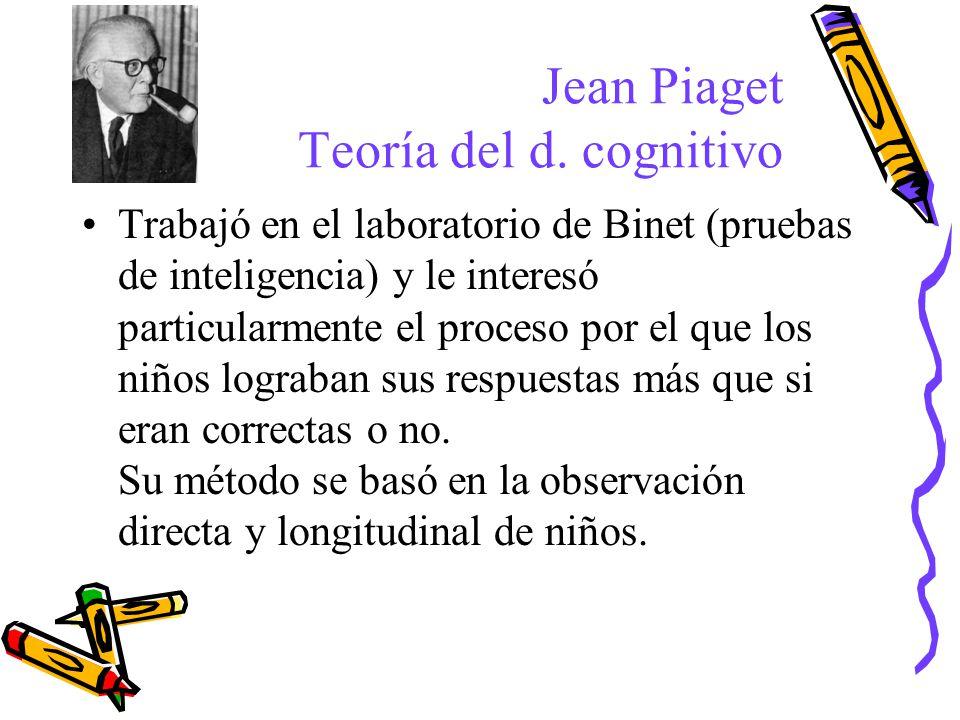 Jean Piaget Teoría del d. cognitivo Trabajó en el laboratorio de Binet (pruebas de inteligencia) y le interesó particularmente el proceso por el que l