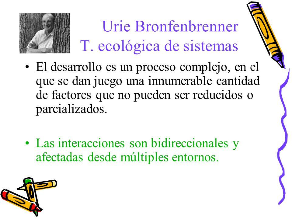 Urie Bronfenbrenner T. ecológica de sistemas El desarrollo es un proceso complejo, en el que se dan juego una innumerable cantidad de factores que no