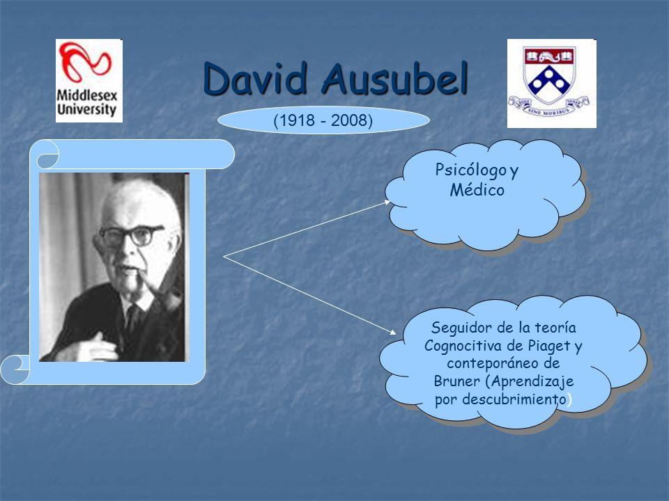 David Ausubel Psicólogo y Médico Psicólogo y Médico Seguidor de la teoría Cognocitiva de Piaget y conteporáneo de Bruner (Aprendizaje por descubrimiento) (1918 - 2008)