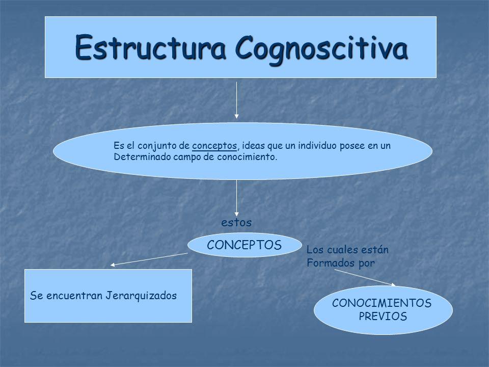 Estructura Cognoscitiva Es el conjunto de conceptos, ideas que un individuo posee en un Determinado campo de conocimiento.