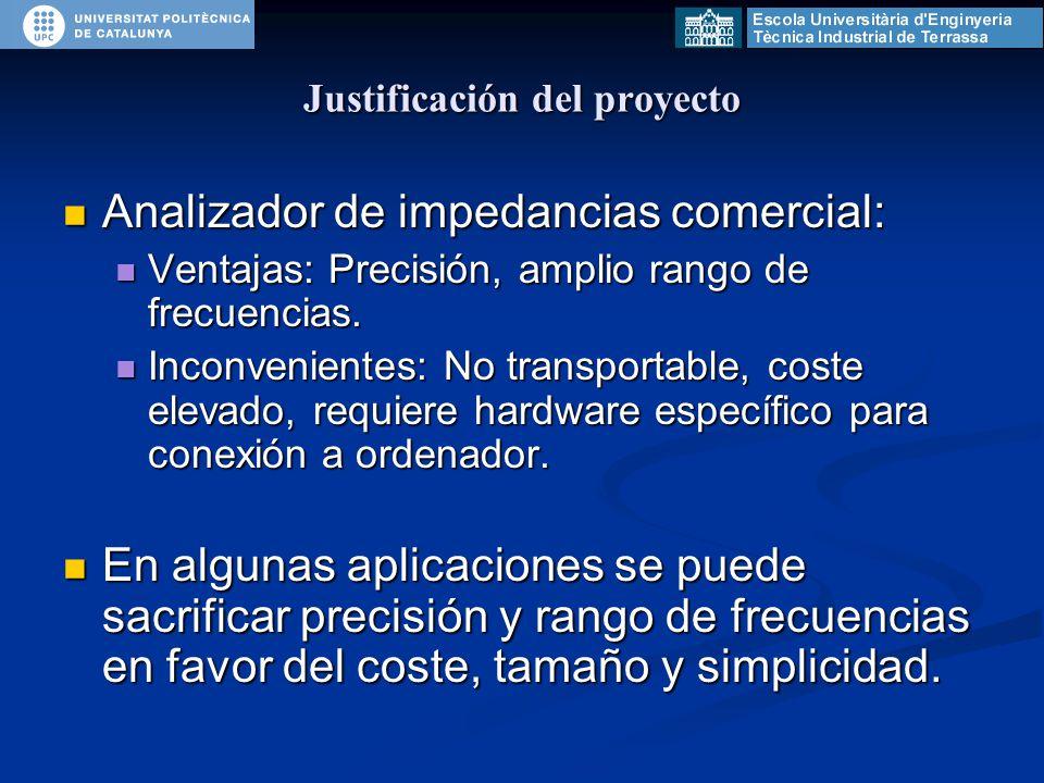 Justificación del proyecto Analizador de impedancias comercial: Analizador de impedancias comercial: Ventajas: Precisión, amplio rango de frecuencias.