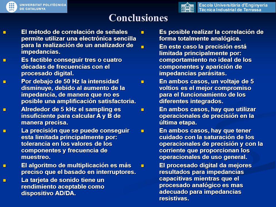Conclusiones Es posible realizar la correlación de forma totalmente analógica.