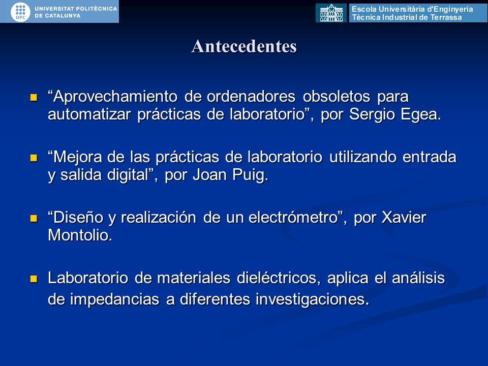 Antecedentes Aprovechamiento de ordenadores obsoletos para automatizar prácticas de laboratorio , por Sergio Egea.