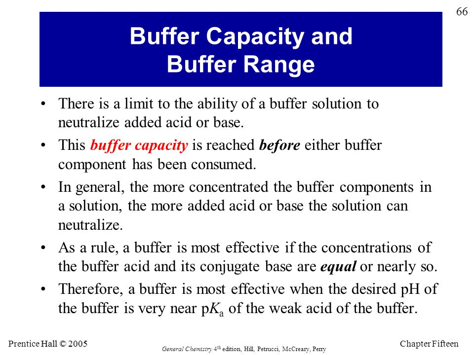 Chapter Fifteen 66 Hall © 2005 Prentice Hall © 2005 General Chemistry 4 th edition, Hill, Petrucci, McCreary, Perry Buffer Capacity and Buffer Range There is a limit to the ability of a buffer solution to neutralize added acid or base.