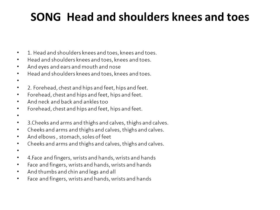 SONG Head and shoulders knees and toes 1. Head and shoulders knees and toes, knees and toes.