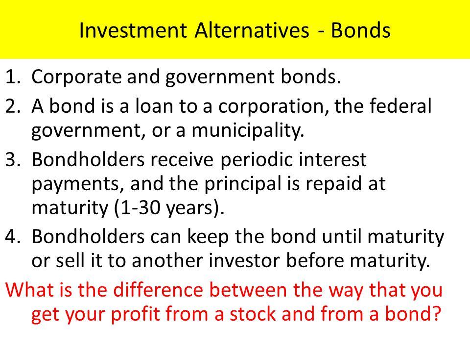 Investment Alternatives - Bonds 1.Corporate and government bonds.