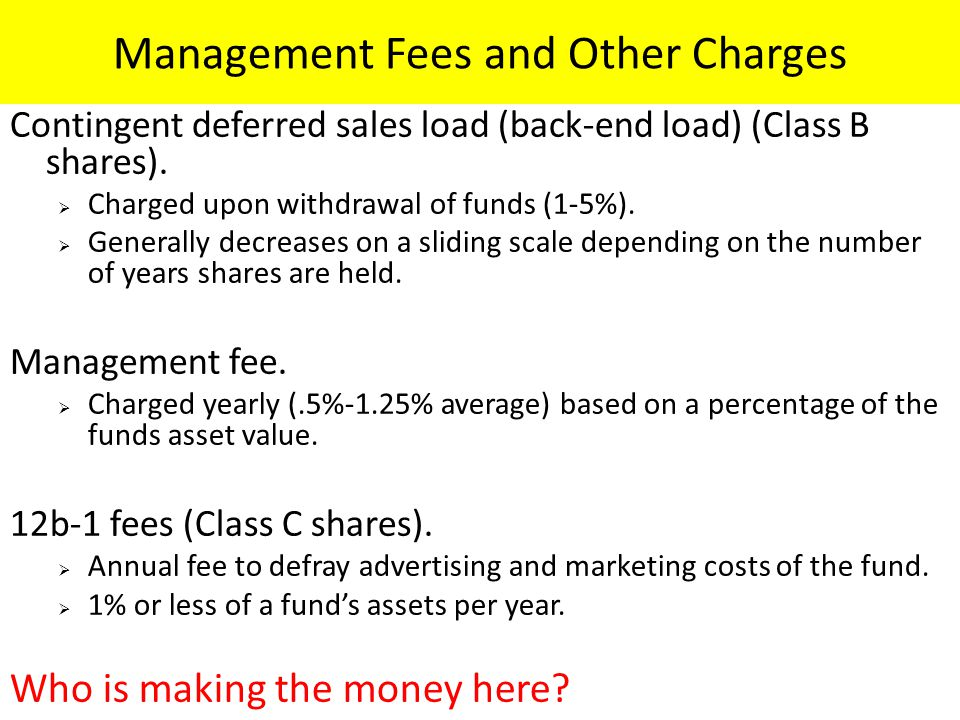 Management Fees and Other Charges Contingent deferred sales load (back-end load) (Class B shares).