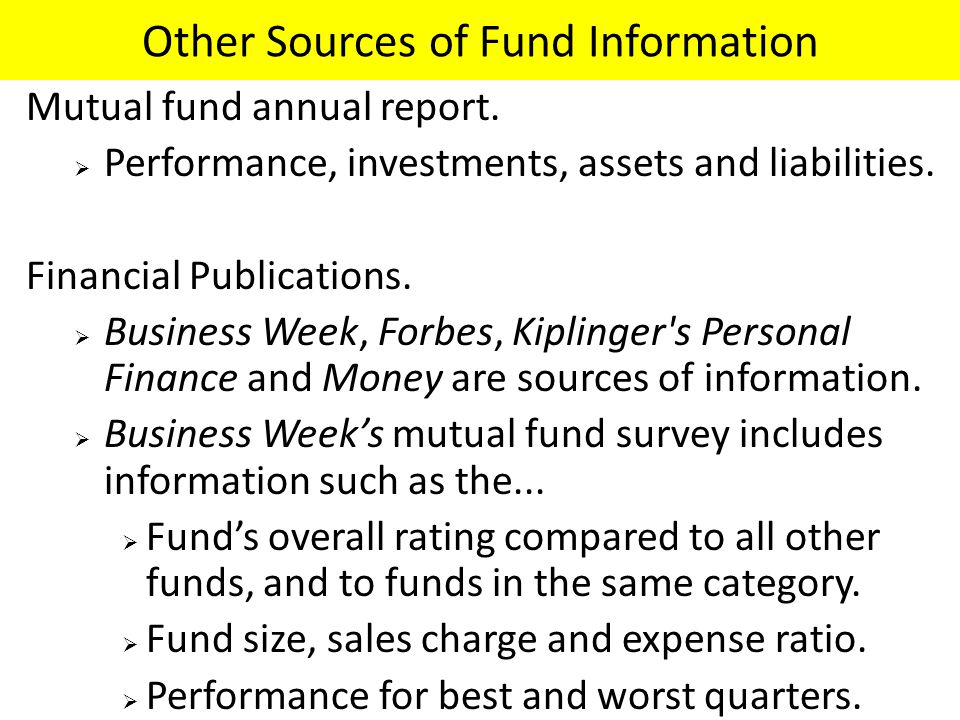 Other Sources of Fund Information Mutual fund annual report.