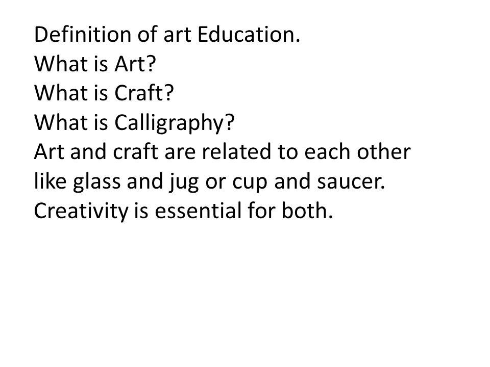 Different definitions of art.