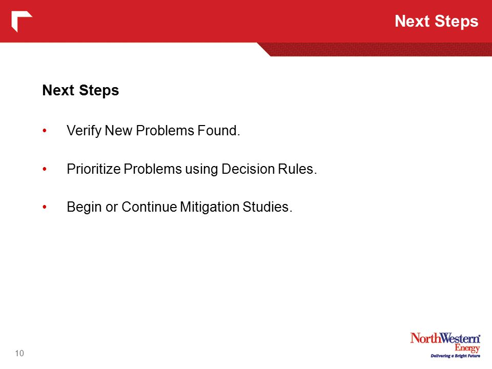Next Steps Verify New Problems Found. Prioritize Problems using Decision Rules.