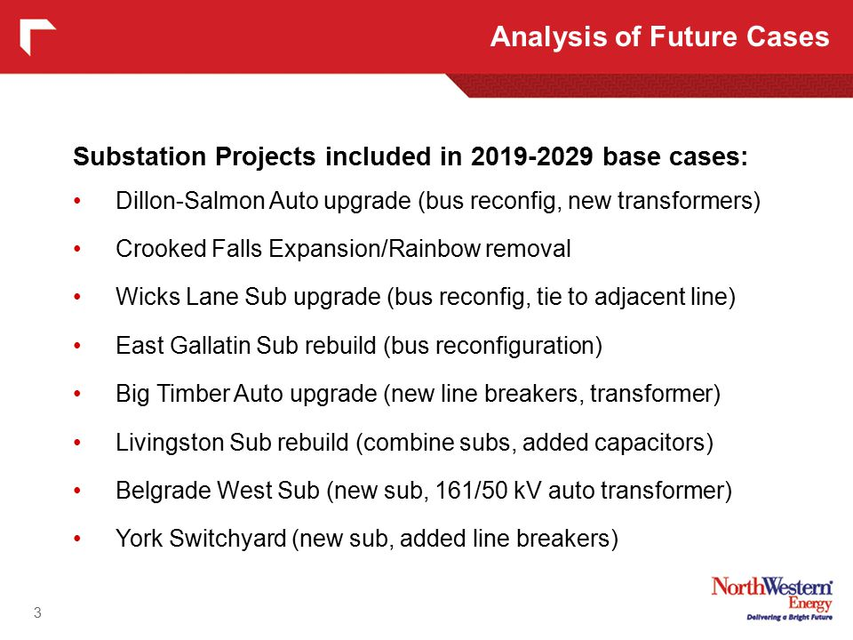 3 Substation Projects included in 2019-2029 base cases: Dillon-Salmon Auto upgrade (bus reconfig, new transformers) Crooked Falls Expansion/Rainbow removal Wicks Lane Sub upgrade (bus reconfig, tie to adjacent line) East Gallatin Sub rebuild (bus reconfiguration) Big Timber Auto upgrade (new line breakers, transformer) Livingston Sub rebuild (combine subs, added capacitors) Belgrade West Sub (new sub, 161/50 kV auto transformer) York Switchyard (new sub, added line breakers) Analysis of Future Cases