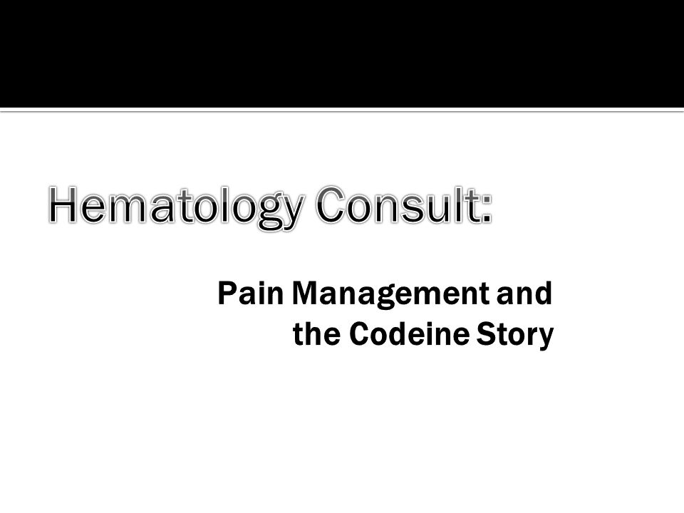 Pain Management and the Codeine Story