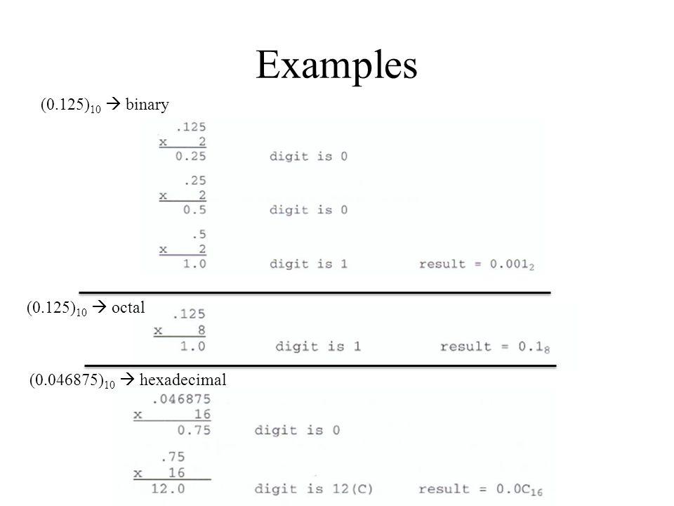 Examples (0.125) 10  binary (0.125) 10  octal (0.046875) 10  hexadecimal