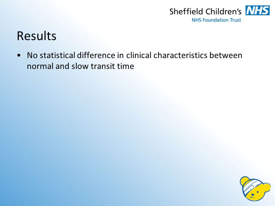 Results No statistical difference in clinical characteristics between normal and slow transit time