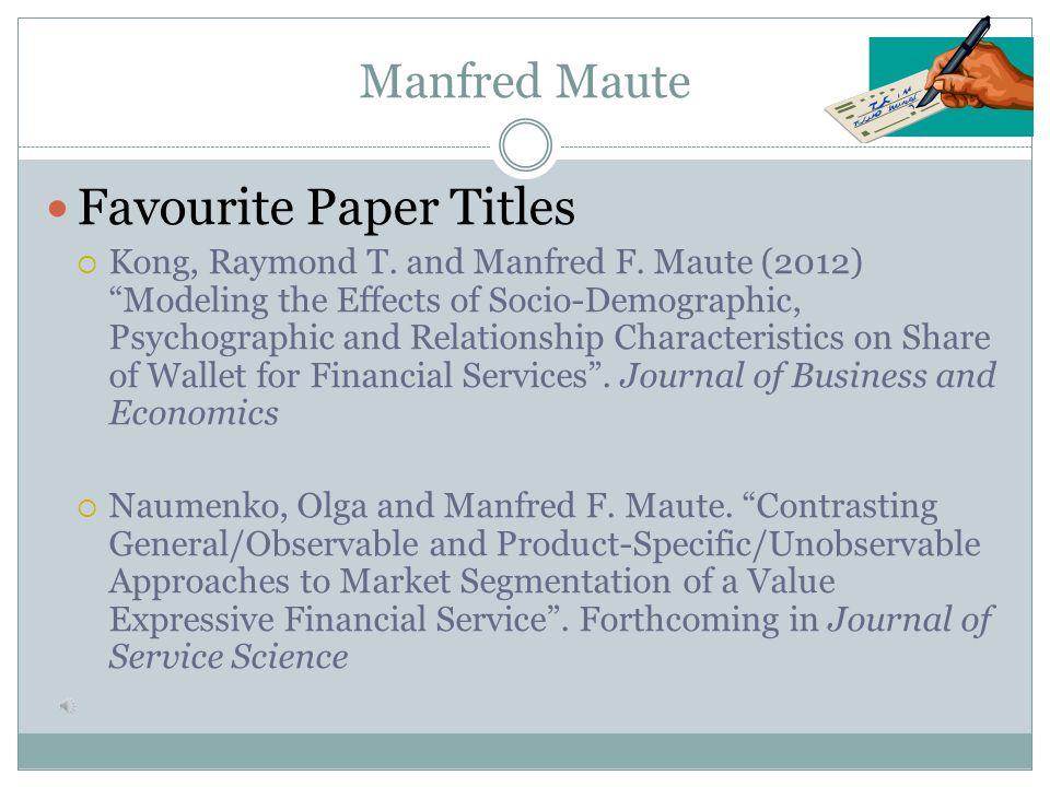 Lee Li Favourite Paper Titles  Li, Lee (2013)