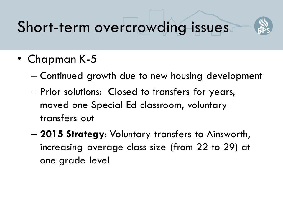 Short-term overcrowding issues Chapman K-5 – Continued growth due to new housing development – Prior solutions: Closed to transfers for years, moved one Special Ed classroom, voluntary transfers out – 2015 Strategy: Voluntary transfers to Ainsworth, increasing average class-size (from 22 to 29) at one grade level