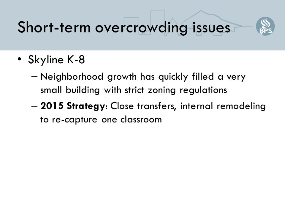 Short-term overcrowding issues Skyline K-8 – Neighborhood growth has quickly filled a very small building with strict zoning regulations – 2015 Strategy: Close transfers, internal remodeling to re-capture one classroom